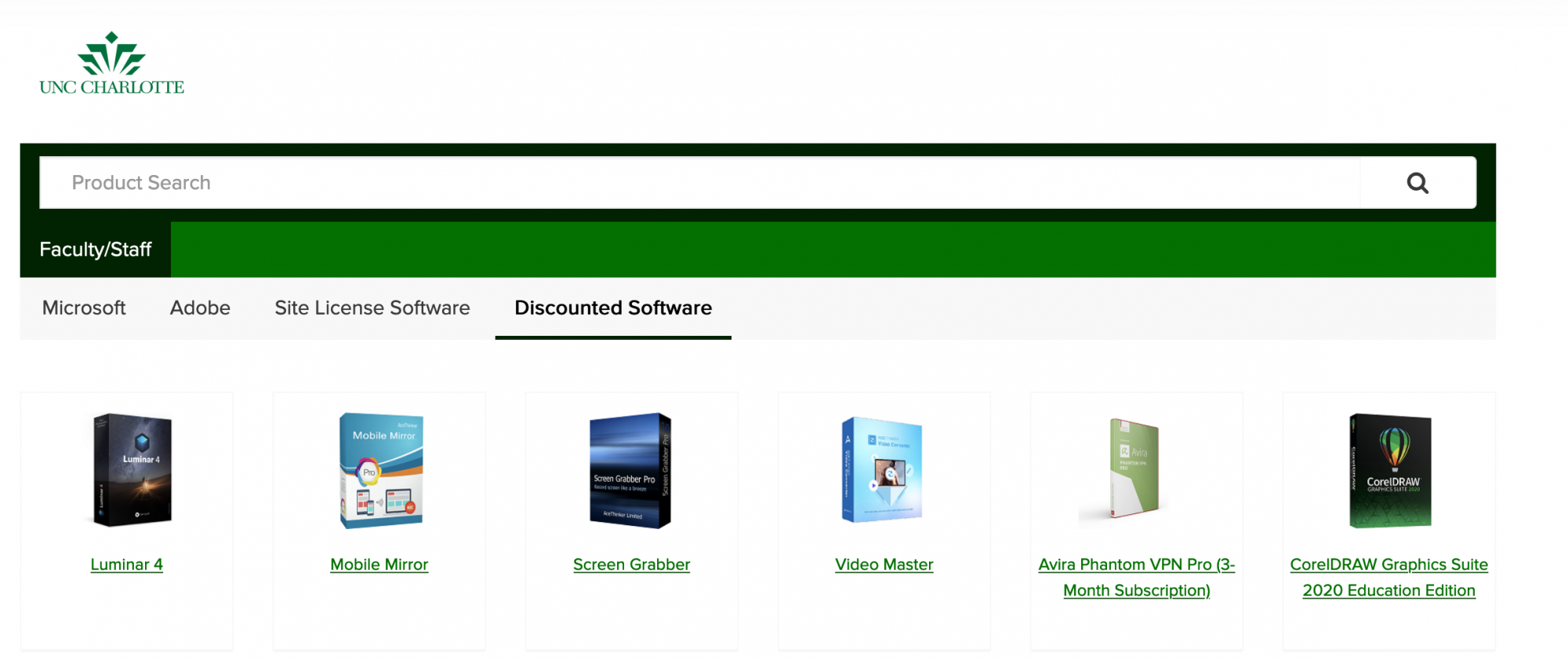 Software.uncc.edu Discounted Software tab preview