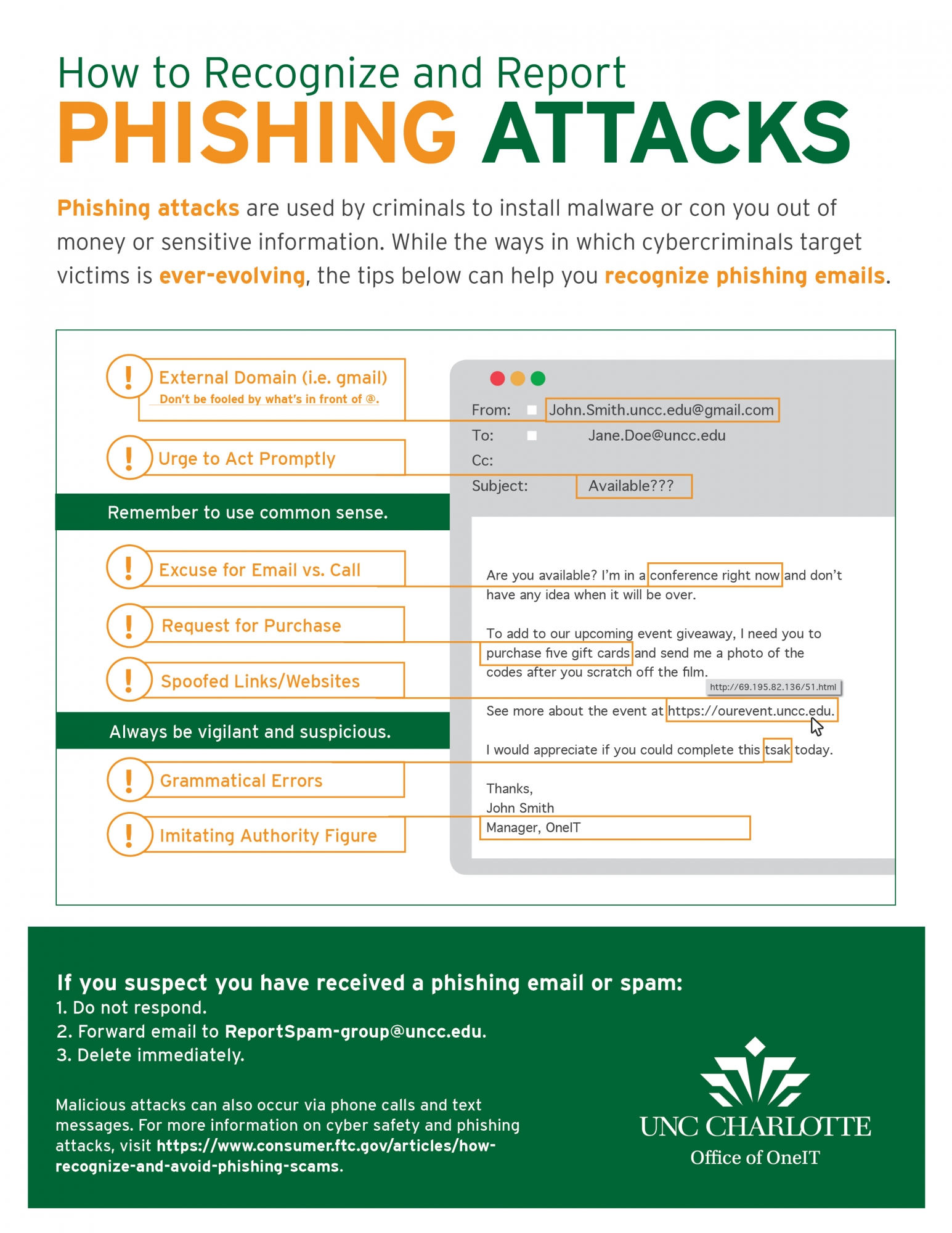Learn how to report phishing attacks
